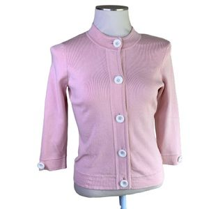 NWT Design History pink silk cardigan w buttons